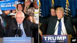 Berni Sander i Donald Tramp - pobednici primarnih izbora u Nju Hempširu, 8. mart 2016.