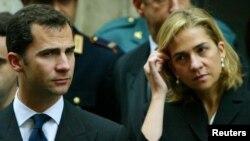 Raja Spanyol Felipe (kiri) dan adiknya Putri Cristina di Roma. (Foto: Dok)