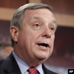"Sen. Richard Durbin, D-Ill., speaks during a news conference about the ""Dream Act"" during an unusual Saturday session on Capitol Hill in Washington, D.C., 18 Dec 2010"