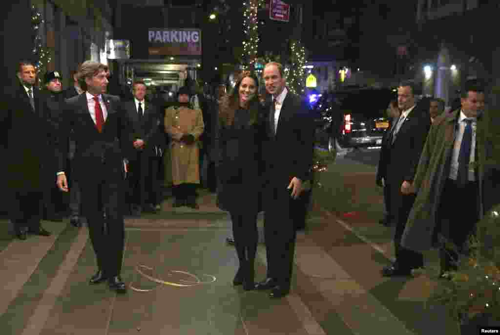Prince William, Duke of Cambridge, and his wife Catherine, Duchess of Cambridge, arrive at the Carlyle hotel in New York, Dec. 7, 2014.