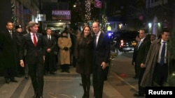 Britain's Prince William, Duke of Cambridge, and his wife Catherine, Duchess of Cambridge, arrive at the Carlyle hotel in New York, Dec. 7, 2014.