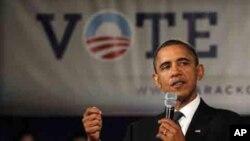 奥巴马总统10月12 日在乔治华盛顿大学演讲,争取年轻选民