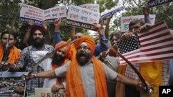 بھارت میں سکھوں کے ایک مظاہرے کا منظر (فائل)