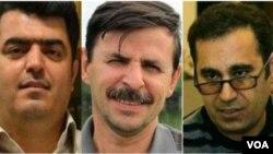 فعالان صنفی معلمان، از راست محمد حبیبی، بهشتی لنگرودی و اسماعیل عبدی