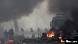 Serangan udara pasukan Suriah menghantam Raqqa, Sabtu (6/9).