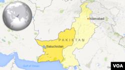 Bản đồ tỉnh Baluchistan, Pakistan.
