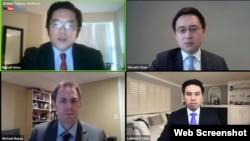 專家在全球台灣研究中心2020年4月30日Zoom網絡研討會上討論新冠疫情與台灣的角色(全球台灣研究中心YouTube直播截屏)
