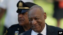 FILE - Bill Cosby arrives for his sexual assault trial at the Montgomery County Courthouse, June 13, 2017, in Norristown, Pennsylvania.