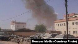 ساختمان دولت محلی پس از انفجار دو خودروی حامل بمب