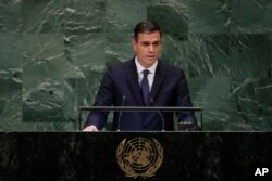 Prime Minister of Spain Pedro Sanchez addresses the 73rd session of the United Nations General Assembly, Sept. 27, 2018, at the United Nations headquarters in New York.