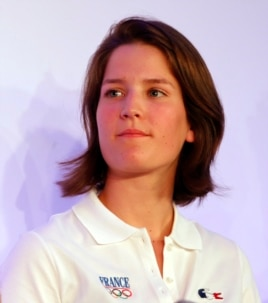 French ski jumper Coline Mattel attends a presentation in Paris of the French Olympic team for the 2014 Winter Olympics in Sochi Oct. 14, 2013.