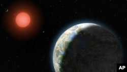 This artist's conception shows the inner four planets of the Gliese 581 system and their host star