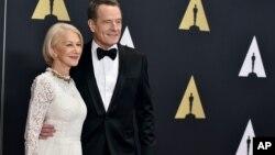 "Helen Mirren, left, and Bryan Cranston star in the new movie ""Trumbo."""