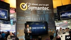 FILE - Symantec makes a presentation at the RSA Conference in San Francisco, April 22, 2015. The company says it has evidence that North Korean hackers are behind recent attacks in 31 countries.