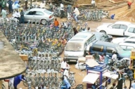 Bicycles for sale at a market in Kampala … MP David Bahati says most Ugandans disagree with homosexuality
