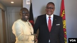 Malawi's President Arthur Peter Mutharika with VOA English to Africa reporter Peter Clottey, before their interview in New York on the sidelines of the UNGA. .