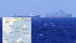 Hình ảnh tuần duyên Trung Quốc và bản đồ khu vực Bãi Tư Chính trên Biển Đông. (Ảnh chụp màn hình Thanh Niên)