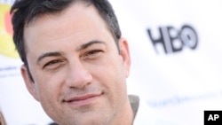 FILE - Television personality Jimmy Kimmel attends the L.A. Loves Alex's Lemonade culinary event at Culver Studios, Sept. 28, 2013