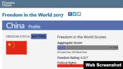 自由之家世界自由指数:中国不自由