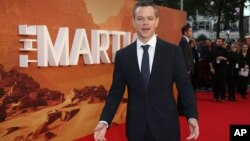"American actor Matt Damon at the European opening of ""The Martian"" in London, September 24. (Photo by Joel Ryan/Invision/AP)"