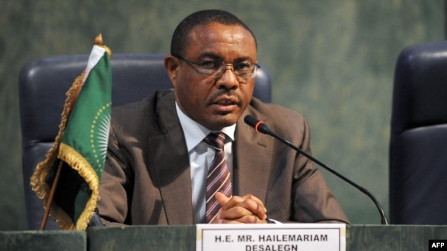 Ethiopian Prime Minister and African Union chairperson Hailemariam Desalegn speaks during a joint press conference at the end of the African Union Summit in Abuja, July 16, 2013.