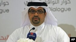 Isa Abdul Rahman, spokesperson for Bahrain's National Dialogue Committee, speaks during a news conference held after the inauguration of the national dialogue, in Manama, Bahtain, July 2, 2011