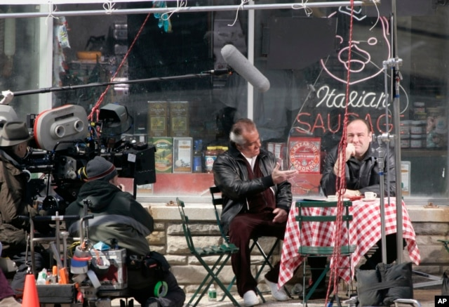 "Actors Tony Sirico (Paulie Walnuts) and James Gandolfini (Tony Soprano), shoot a scene from the mafia drama, ""The Sopranos,"" in Kearny, New Jersey, March 21, 2007."
