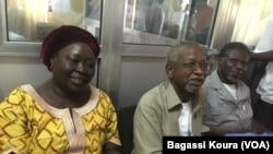 De gauche : Narmadji Céline, Younouss Mahadjir, Mahamat Nour Ibedou, trois des quatre leaders de la société civile condamnés à N'Djamena, Tchad, 4 juin 2016.