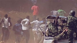 Malawi police chase protesters. At least 19 people were killed and dozens, including children, were injured after police used live ammunition during demonstrations over bad governance, fuel shortages and human rights abuses in various cities. 22 July 2011