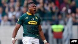 Le rugbyman sud-africain Aphiwe Dyantyi lors d'un match contre l'Australie, Afrique du Sud, le 29 septembre 2018. (Photo GIANLUIGI GUERCIA / AFP)