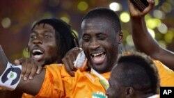 Yaya Touré lors de la victoire à la CAN, Bata, Guinée Equatoriale, 8 février 2015.