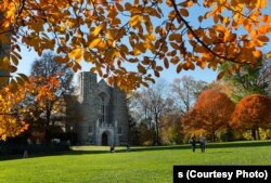 Fall foliage on Parrish Beach and Clothier Hall on the campus of Swarthmore College.