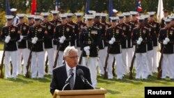 지난 19일 워싱턴 DC 국방부 청사에서 열린 '전쟁포로 실종자의 날' 기념식에서 척 헤이글 미 국방장관이 연설하고 있다.