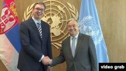 Predsednik Srbije Aleksandar Vučić sa Generalnim sekretarom UN Antoniom Guterešom