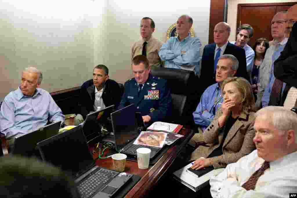 May 1: President Barack Obama and Vice President Joe Biden, along with members of the national security team, receive an update on the mission against Osama bin Laden in the Situation Room of the White House. (White House photo by Pete Souza)