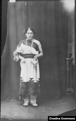 "A circa 1886 photograph of We'wha, a famous lhamana of the Zuni people of New Mexico. lhamana means ""like a woman,"" the traditional Zuni gender role now described as two spirit. Courtesy: U.S. National Archives and Records Administration - 523798"