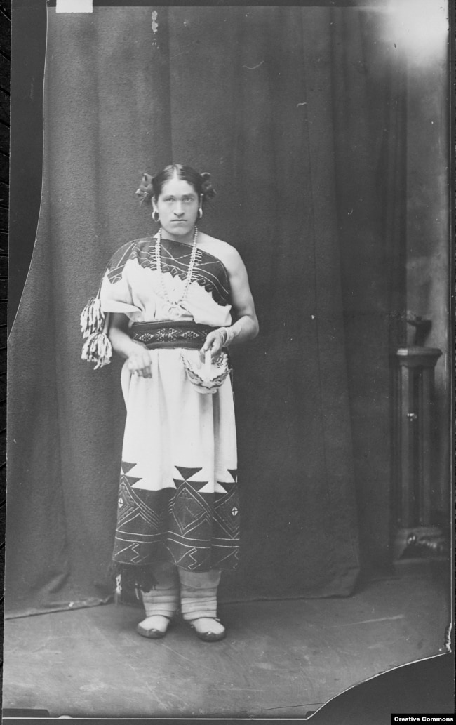 "A ca. 1886 photograph of We'wha (Zuni, N.M.), a famous lhamana (""like a woman""), the traditional Zuni gender role now described as two spirit. Courtesy: U.S. National Archives and Records Administration - 523798"