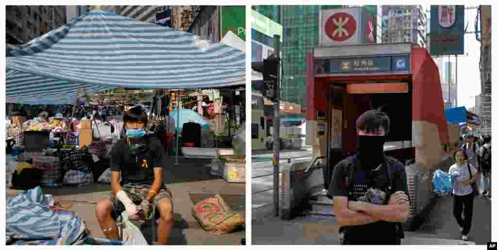 Foto kiri: Mo, 22, seorang akuntan, di depan tenda jalan utama tempat demonstrasi di distrik Causeway Bay di Hong Kong pada 14 Oktober 2014. Kanan: Mo di tempat yang sama tanggal 25 September 2015. (AP/Vincent Yu)
