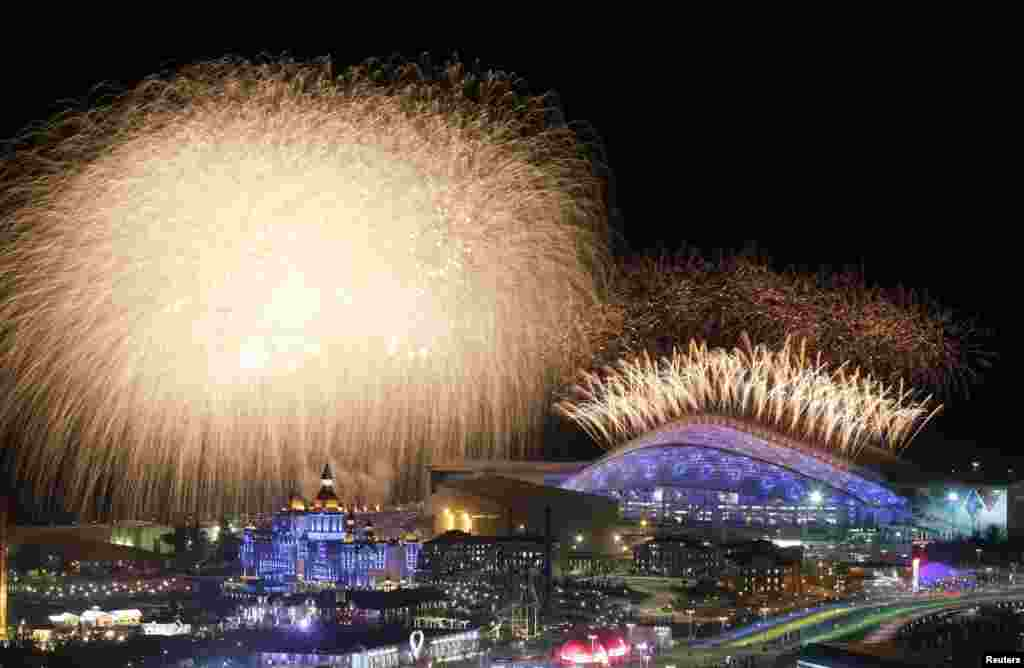 Fireworks are seen over the Olympic Park during the opening ceremony of the Sochi 2014 Winter Olympics in Russia.
