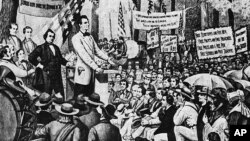 The Lincoln-Douglas debates on the extension of slavery during the 1858 campaign. (New York Public Library Picture Collection)