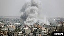 Израиль нанес воздушный удар по объектам на территории Газы. 5 мая 2019 г.