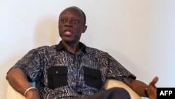 Le candidat présidentiel congolais, Jean-Marie Michel Mokoko, s'exprime lors d'une interview à sa résidence à Brazzaville, le 19 mars 2016.