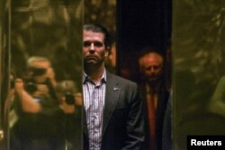 FILE - Donald Trump Jr. arrives at Trump Tower in New York City, Jan. 18, 2017.