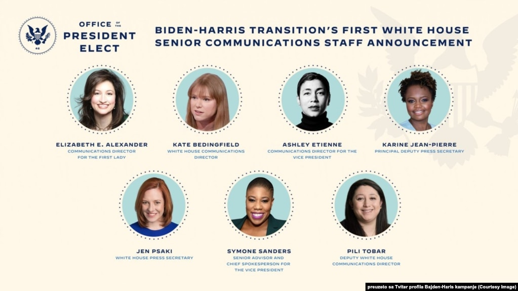 This image shows President-elect Joe Biden's nominees for his communications team in the White House (Courtesy Image via Joe Biden's official Twitter account)