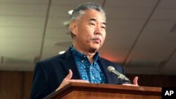 FILE - Hawaii Gov. David Ige answers questions during a hearing in Honolulu, Jan. 19, 2018.