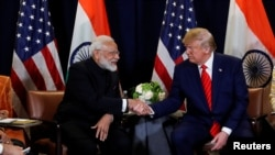 U.S. President Trump meets with India's Prime Minister Modi on sidelines of U.N. General Assembly in...