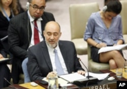 Ron Prosor, Permanent Representative of Israel to the United Nations, addresses the Security Council meeting on the situation of the Middle East, July 26, 2011