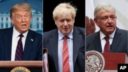 This combination photo shows U.S. President Donald J. Trump, from left, British Prime Minister Boris Johnson, Mexican President Andres Manuel Lopez Obrador and Brazil's President Jair Bolsonaro.