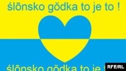 Сілезький плакат, який пропагує сілезьку говірку: «Сілезька мова – це саме те!». Жовто-блакитні барви – це традиційні кольори Сілезії