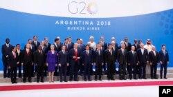 မွတ္တမ္းဓါတ္ပံု ၂၀၁၈ ႏို၀င္ဘာတုန္းက G-20 နိုင္ငံေတြရဲ႕ အစည္းအေ၀း က်င္းပခဲ့့စဥ္